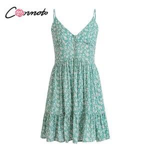 Image 5 - Conmoto ראפלס ספגטי רצועה ירוק נשים שמלות כפתור נשי חוף קיץ 2019 שמלת מיני סקסי שמלת Vestidos