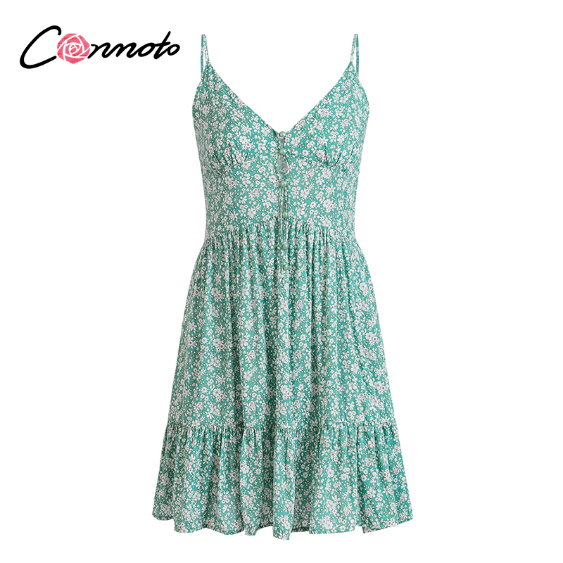 Image 5 - Conmoto Ruffles Spaghetti Strap Green Women Dresses Button Female Beach Summer 2019 Dress Mini Sexy Dress VestidosDresses   -