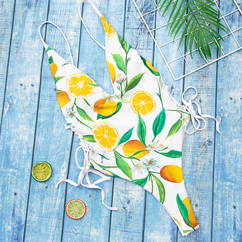 2020 مثير عميق الخامس قطعة واحدة ملابس السباحة النساء طباعة ملابس ضمادة Monokini رفع لباس سباحة ملابس الصيف الشاطئ لباس سباحة