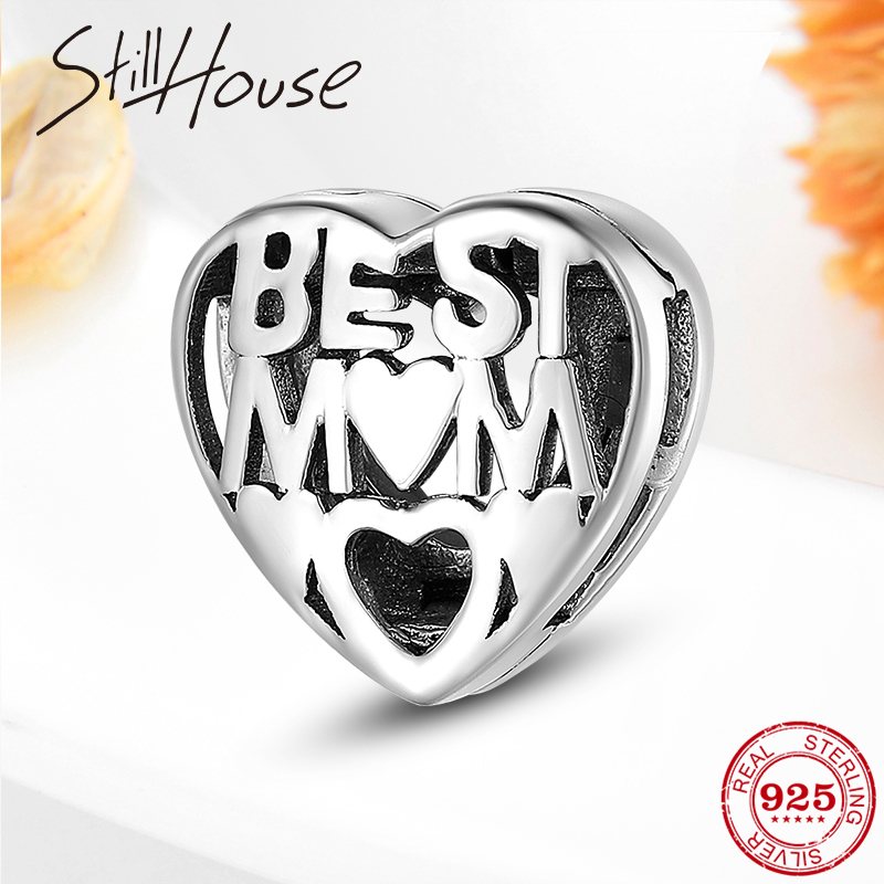 Mother's Love Best MOM Authentic 925-sterling-silver Charm Clip Beads Fit Original Reflection Women Bracelet S925 Jewelry Making