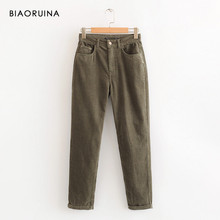 BIAORUINA Women's Army Green Corduroy Pant Female High Waist Casual Trousers Streetwear All-match Fashion Bottoms(China)