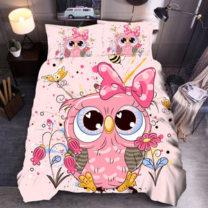 Cartoon Owl Bedding set Single Kids Duvet Cover Set Queen King Comforter Bedding Sets HJ01#