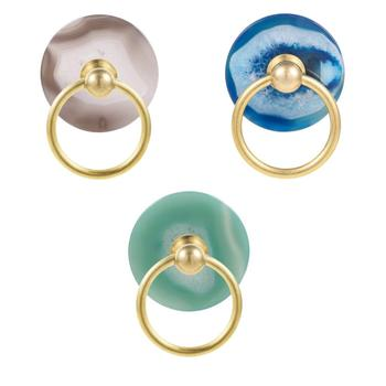 TUMBEELLUWA 1.96 inches Round Polished Agate Slice Drawer Knobs Handmade Pull Handle Door Pulls for Cabinet Kitchen Cupboard