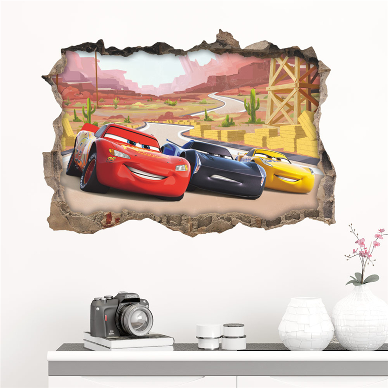 3D Disney Cars 3 Through Wall Stickers For Kids Rooms Home Decor Cartoon Lightning Mcqueen Wall Decals Pvc Mural Art Diy Poster