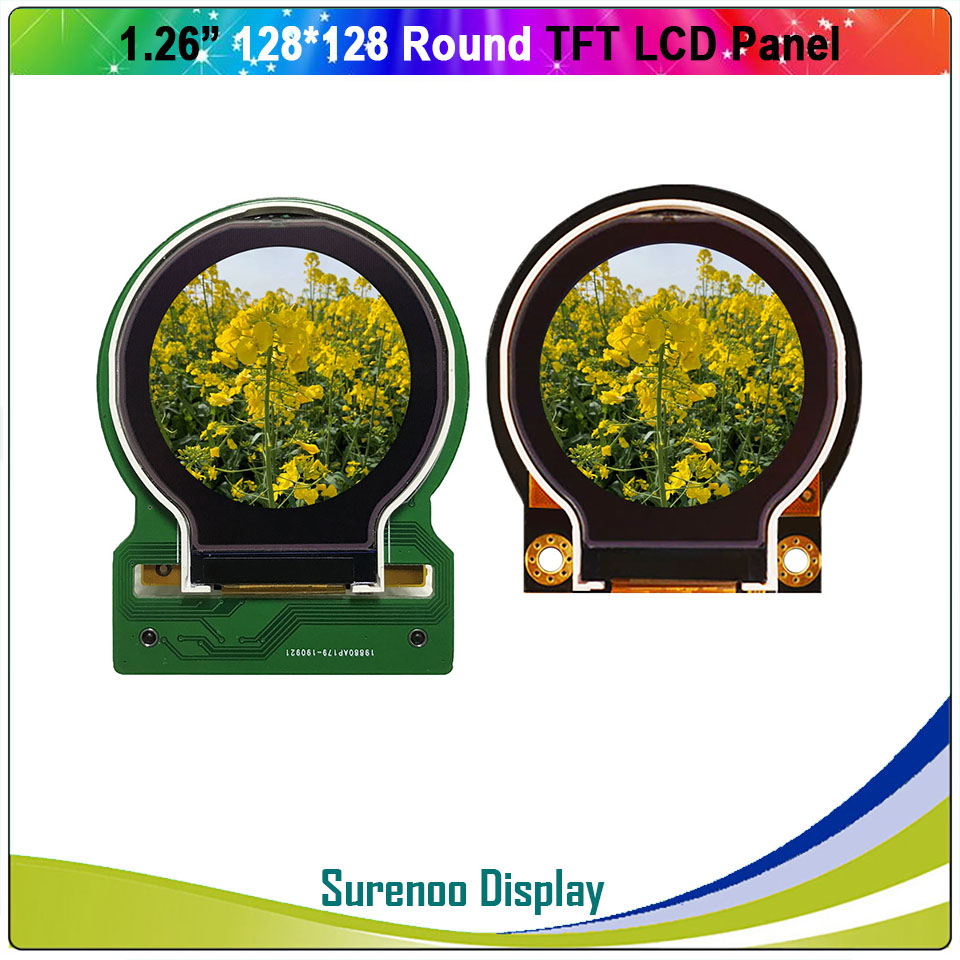 1.26 / 2.2 Inch Round Circle Circular128X128 TFT LCD Display Module Screen Build-in ST7687S Parallel SPI For Arduino