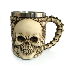 Resin and Stainless Steel 3D Skull Mug Beer Stein Tankard Coffee Mug Tea Cup Halloween Bar Drinkware Gift 8.8X11CM