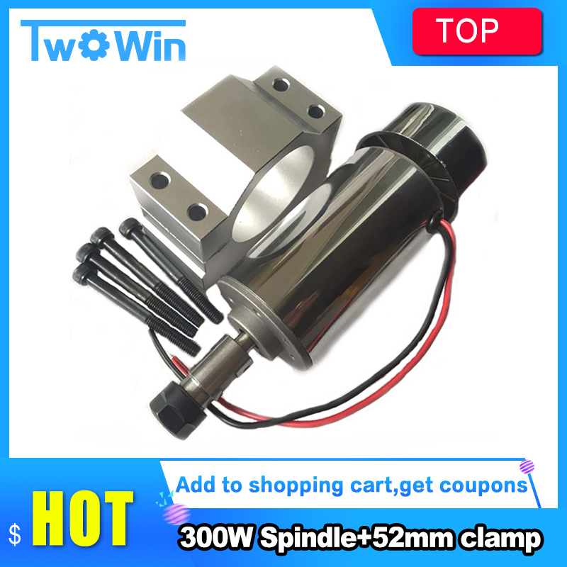 Best Quality ! Air cooled 300W DC Spindle Motor 12-48V DC ER11 collect + 52mm Mount bracket fixture for PCB CNC Mahine
