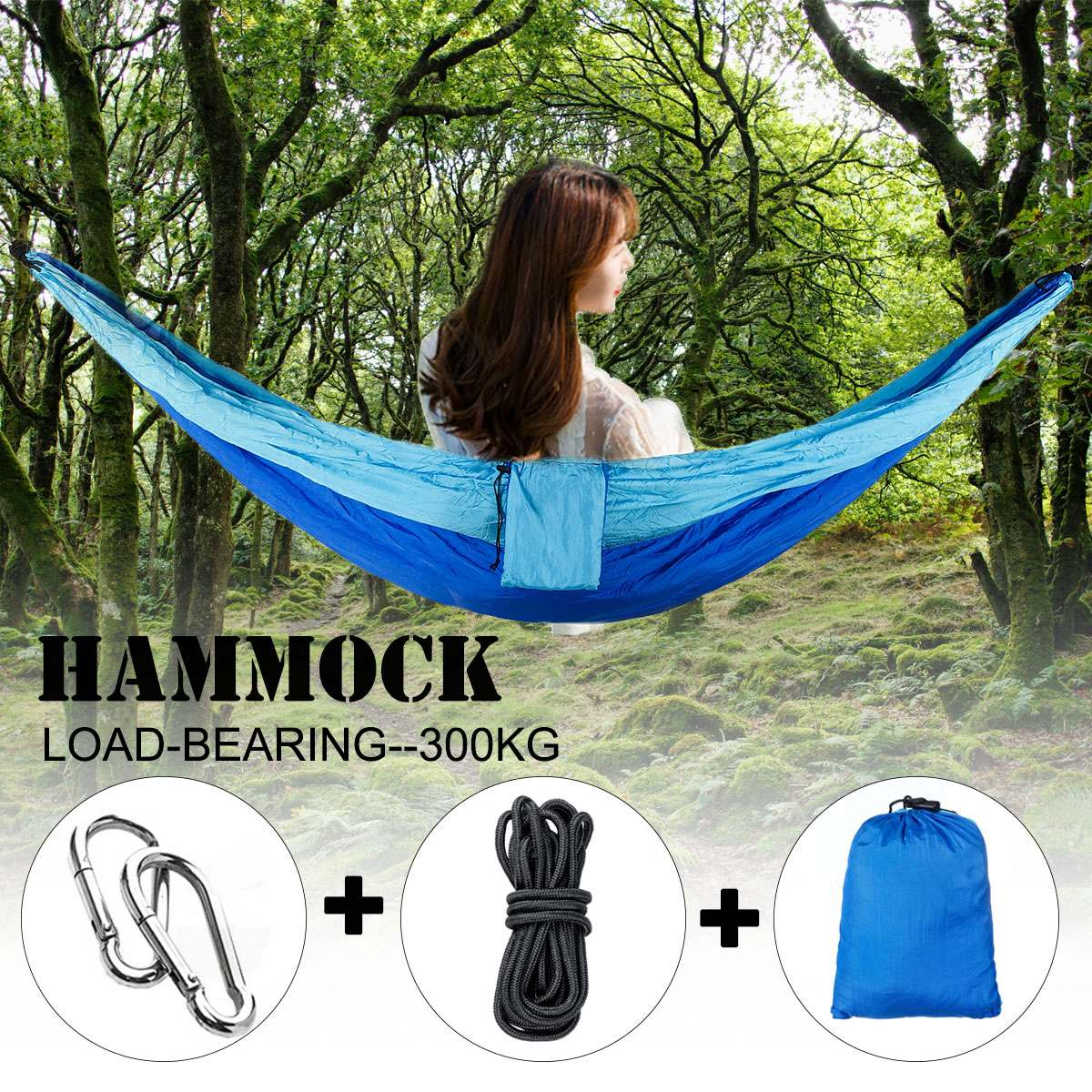 2 Person Outdoor Camping Parachute Hammock Portable Safety Hanging Sleeping Bed For Adult Backpacking Travel With Hook Rope