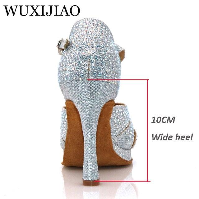 WUXIJIAO nouvelles femmes argent clignotant tissu chaussures de danse strass salsa chaussures de danse de salle de bal chaussures large avec 10CM