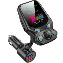 Konrisa AUX Bluetooth FM Transmitter 2.4A + QC 3.0 Cepat Charger Dual USB Port Wireless A2DP Musik Player Penopang TF kartu U Disk(China)