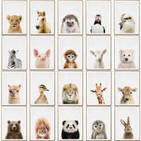 Towoto Baby Animal Print Nordic Poster Minimalist Canvas Painting Safari Nursery Wall Art Kids Baby Room Decoration Pictures