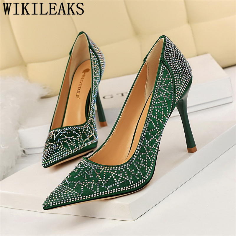 Rhinestone Heels White Heels Stiletto Party Shoes Pointed Heels FashionPumps Women Shoes Ladies Shoes Chaussure Mariage Femme