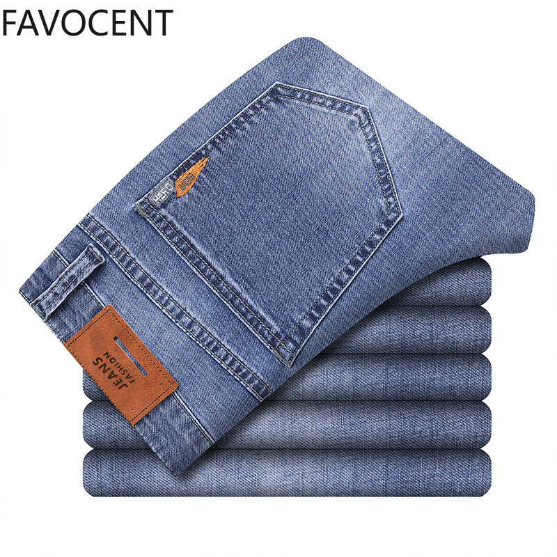 Slim Jeans Men Summer New Men's Blue Thin Jeans Fashion Casual Stretch Denim Trousers Male Brand Pants Straight Solid Clothes