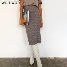 WOTWOY High Waist Wrapped Plaid Skirts Women Split Slim Midi-Long Pencil Skirts Female Casual Side Zippers Mujer Faldas 2020 New
