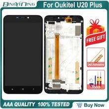 """BingYeNing 5.5 """"dla Oukitel U20 Plus LCD i ekran dotykowy Digitizer z wyświetlanie ramki ekran akcesoria do telefonu wymiana zespołu"""
