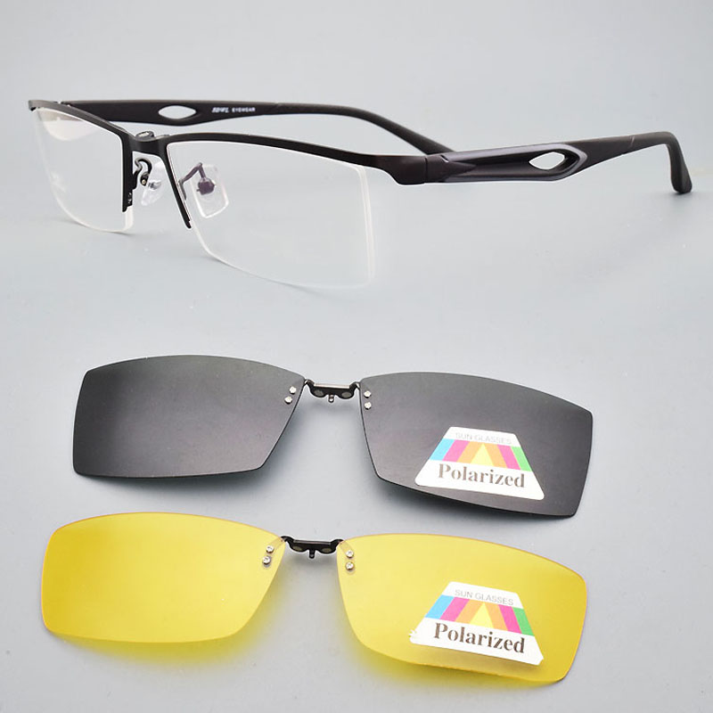 Glasses Frame Male clip on sunglasses magnetic  Myopia Yellow Night Vision Goggles  wireframe Eyebrow Frames Soft Temple