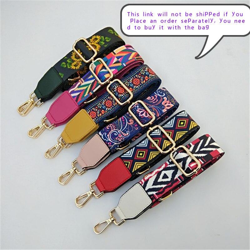 80-140cm Nylon Strap Women Bohemian Print Multi Color Adjustable Replacement Bag Belt Handbag Bag Shoulder Strap Luis Vuiton
