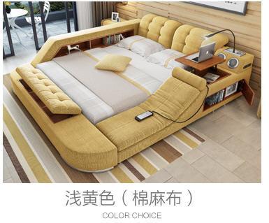 Europe and America fabric cloth bed massage Modern Soft Beds Home Bedroom Furniture cama muebles de dormitorio / camas quarto 4