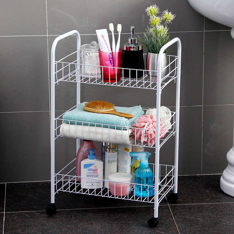 Orz 4 層収納オーガナイザーラックキッチン浴室の棚メタルローリングトロリーカート食品収納バスケットスタンド重層ギャップ