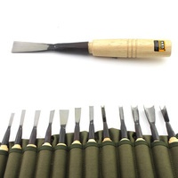 HSS Carpentry Tongue 12PCS Wood Flat Chisel Jumper Chisel Woodworking Boutique Tools with Carry Bag