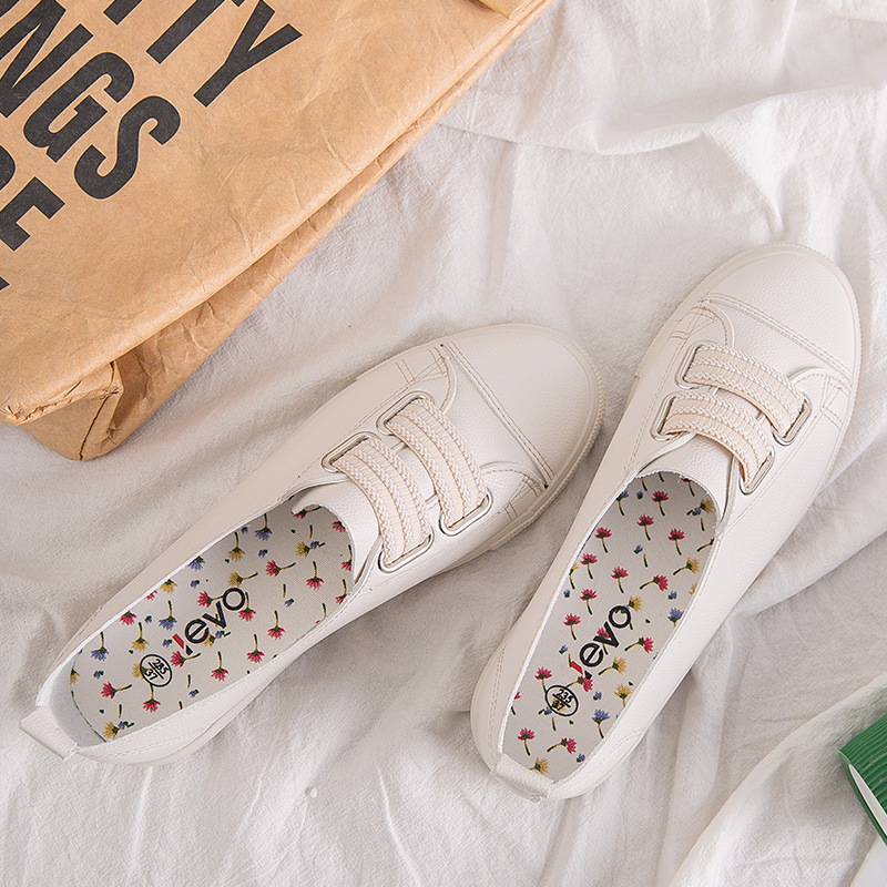 2019 New Style Leyo Elastic Microfiber Canvas Shoes Korean-style Baidu White Shoes Student Low-Cut Sports Footwear