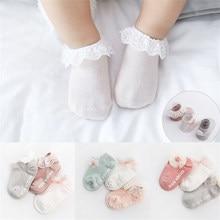 Neugeborenen Baby Kinder Mädchen Spitze Rüschen Rüschen Socken Kleinkinder Weiche Baumwolle Spitze Bogen Prinzessin Engel Ankle Socken 3 Paare/sets