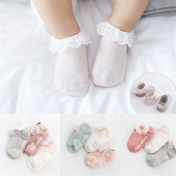 Newborn Infant Baby Kids Girls Lace Ruffle Frilly Socks Toddlers Soft Cotton Lace Bow Princess Angel Ankle Socks 3 Pairs/Sets
