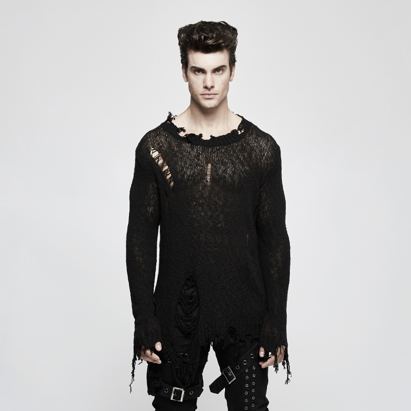 Панк рейв Мужской панк пуловер свитер пряжа из чистого хлопка сломанное отверстие личности свободный длинный рукав мужской свитер