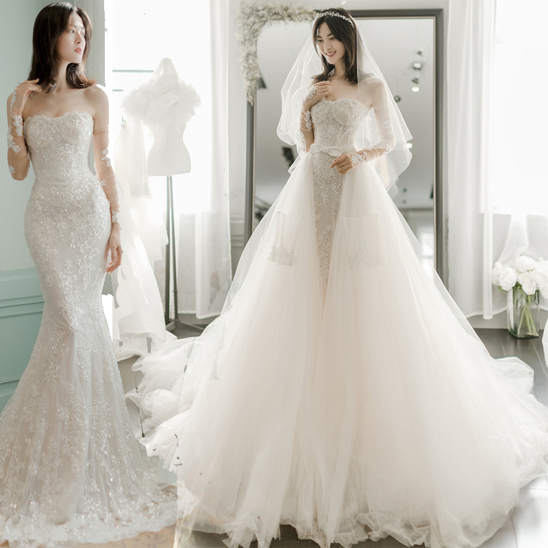 BacklakeGirls HT41011 Sweetheart Mermaid Bride Dresses Long Sleeves With Detachable Train 2020 Vestidos De Novia Blancos