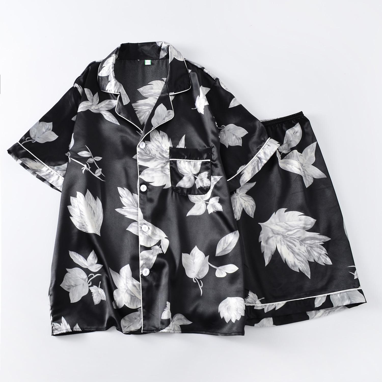 2019 pijamas pijama hombre sleepwear pijama masculino mens nightwear shirt pants sleepwear rayon silk nightgown floral print