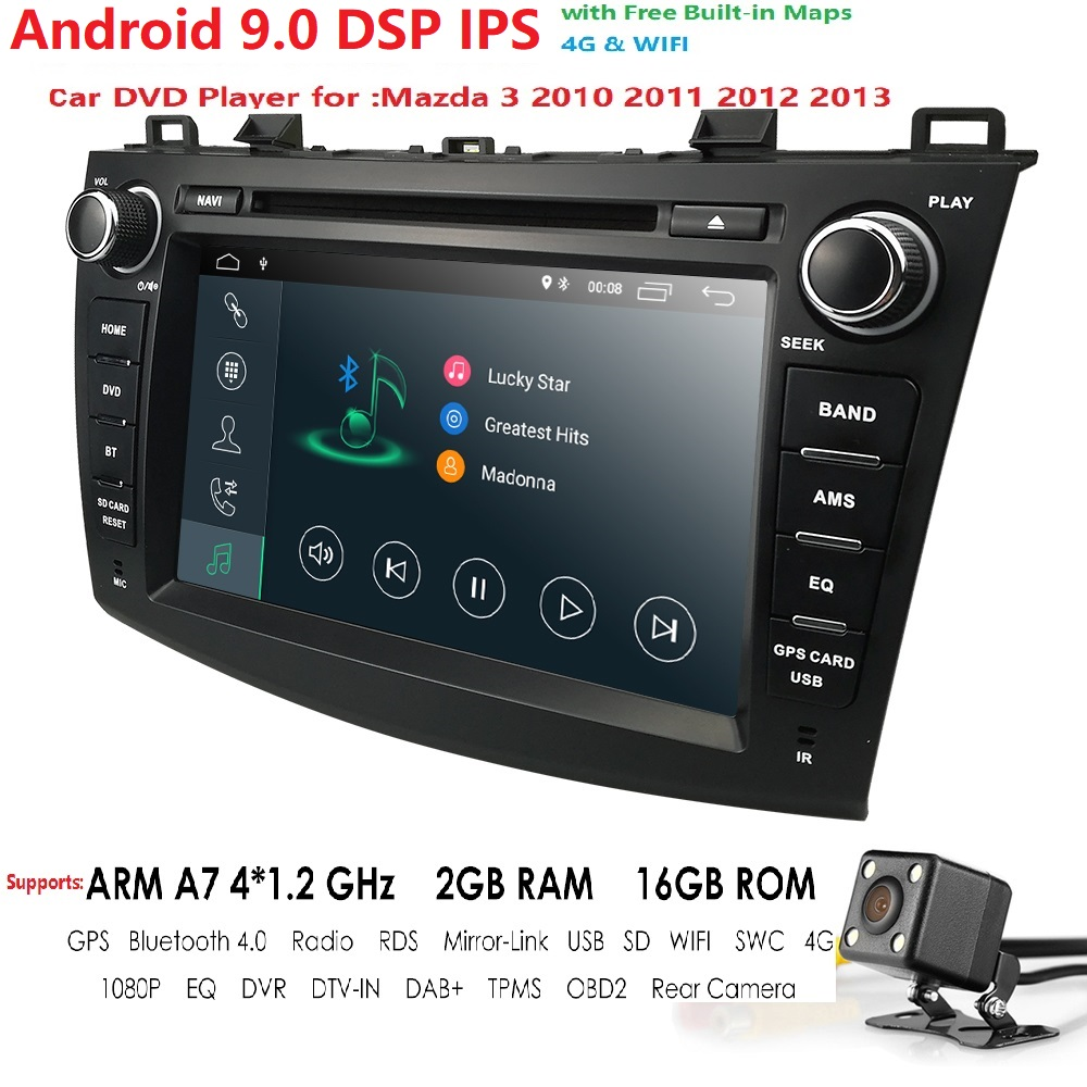 "Android 9.0 Auto Radio 2 Din Car Stereo DVD GPS Navi For Mazda 3 Mazda3 2010 2011 2012 2013 8"" HD Headunit GPS Navigation System"