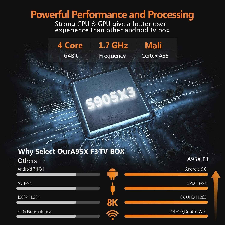 A95X F3 RGB نسخة الذكية صندوق التلفزيون أندرويد 9.0 Amlogic S905X3 صندوق التلفزيون 2.4G & 5G واي فاي بلوتوث 4.2 مشغل جوجل 8K تي في بوكس أندرويد