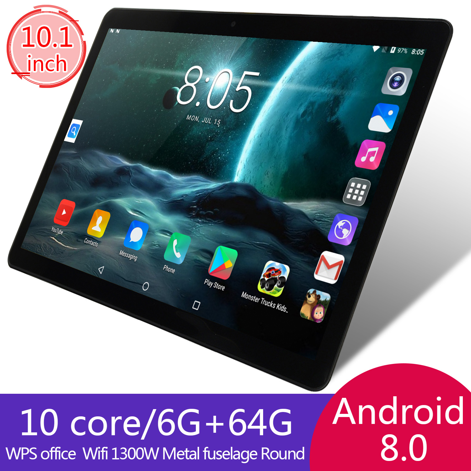 KIVBWY 10 Inch Tablet PC 6GB RAM 64GB ROM 1280*800 IPSl SIM Card 4G LTE FDD Wifi Android 8.0 Tablet 10.1