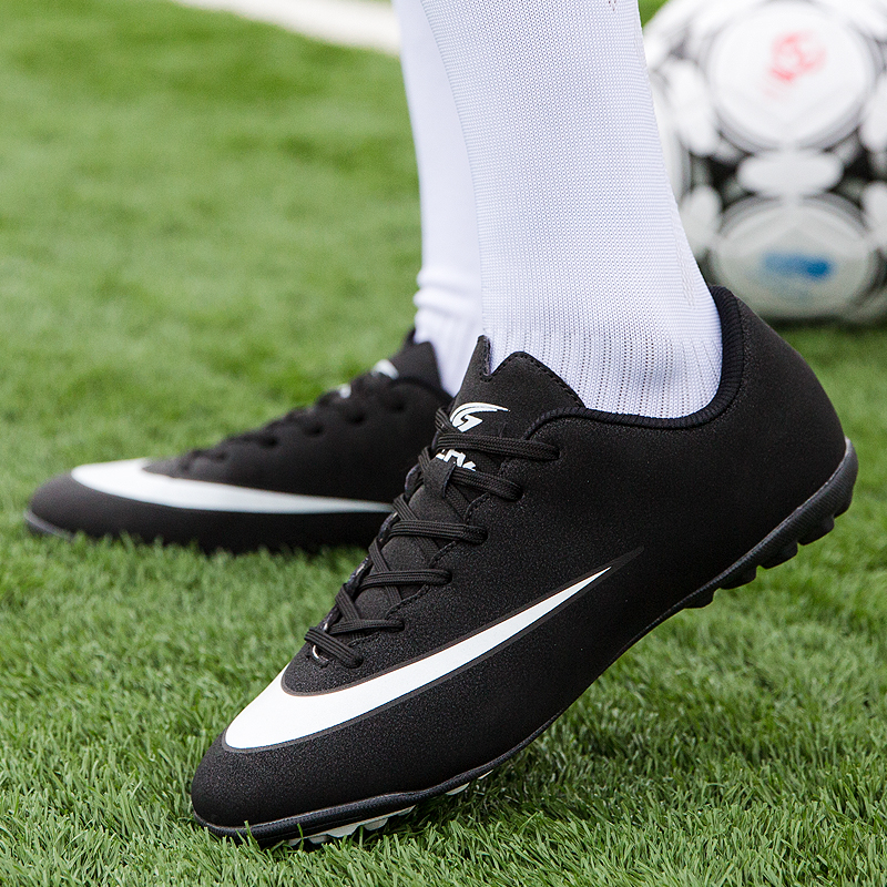 Men's Classic Youth Soccer Shoes Turf Bottom Boots for Football Training Shoes Male Teenager Soccer Shoes Balck|Soccer Shoes|Sports & Entertainment - title=