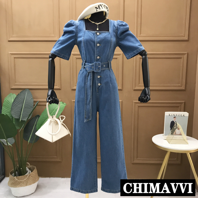 2020 Spring And Summer New Square Collar Short-Sleeved Denim Jumpsuit Women's Straight Wide-Leg Romper Lace-up Belt Slim Pants
