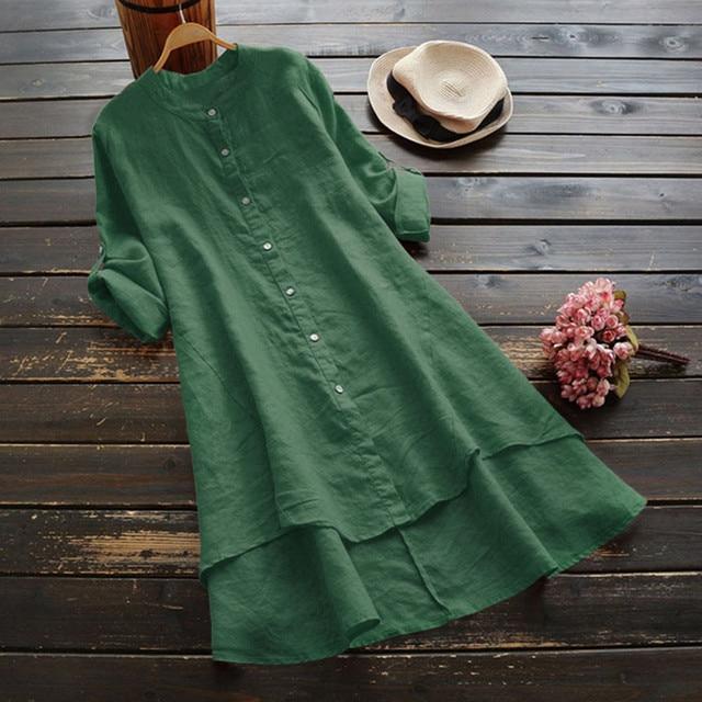 #H40 Casual Loose Cotton And Linen Blouse Women Soild Button Long Sleeve Long Shirt Womens Tops And Blouses Blusa Feminina 5
