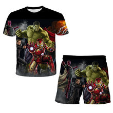 Super-Hero Hulk- Spidermαn Summer 2Pcs Sets Children Clothing Sets Tops+Pants Suits Boys Tshirts Shorts 4 5 6 7 8 9-14 Years