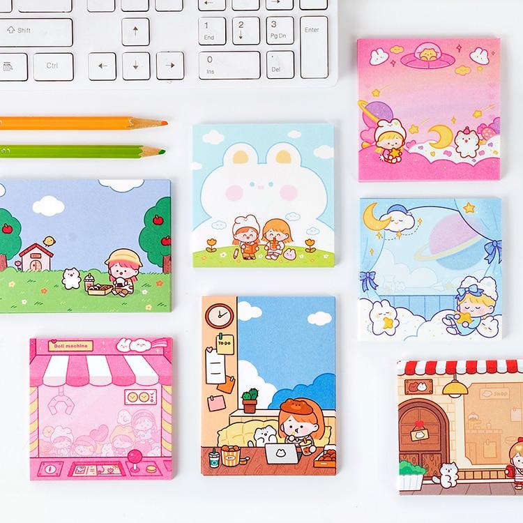 8PCS/LOT Bunnies And Friends Series Cute Creative Paper Material Paper Memo Pad