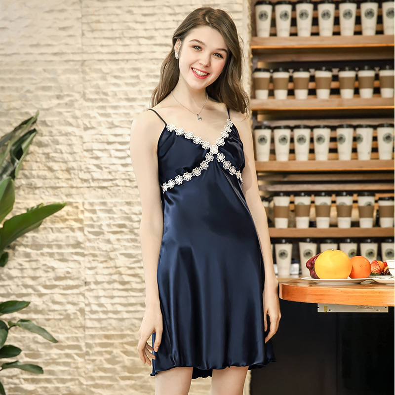 Yao Ting Summer Silk Sexy Nightgown Women's Lace Tracksuit Wp691 Single Camisole