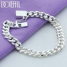 DOTEFFIL 925 Sterling Silver 10mm Sideways Bracelet Chain For Men Women Wedding Engagement Party Jewelry