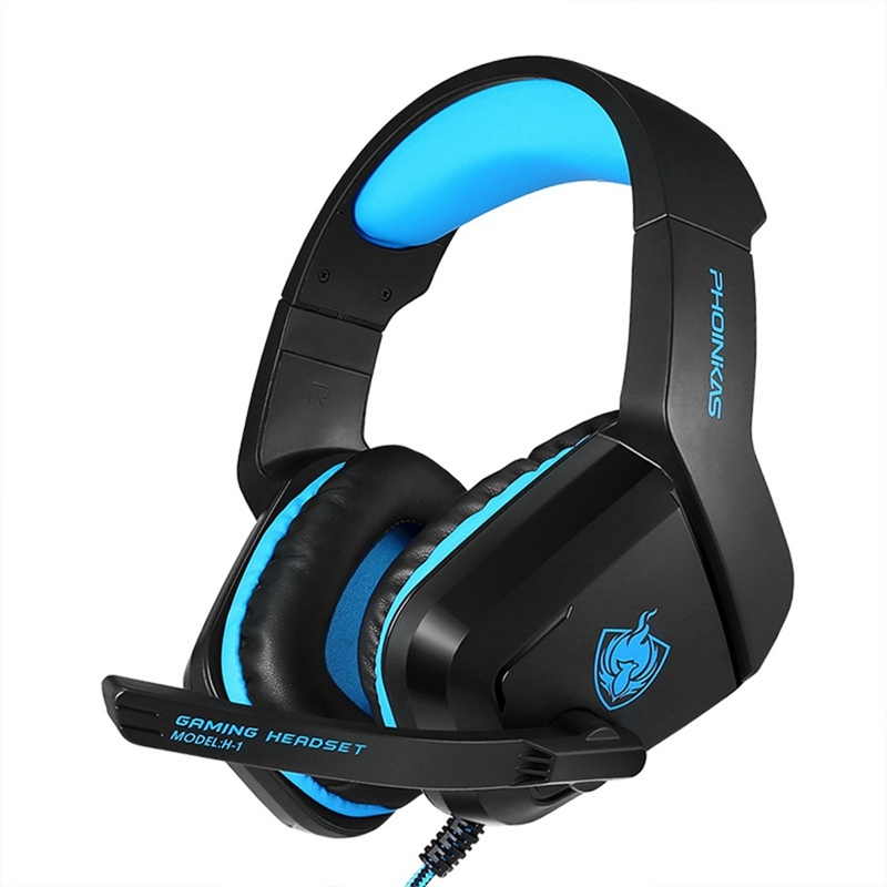 PHOINIKAS H-1 Gaming Headset 3.5 Music Stereo Bass Deep Ps4 Computer With Microphone Headphones Black + Blue Plastic