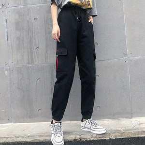High-Waist Pants Trousers Joggers Street-Wear Cargo Elasticated Loose Women Moto Link-Chain