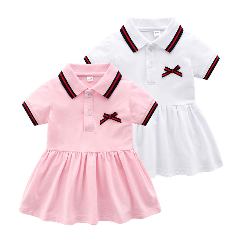 Baby Girls Casual Dress  Summer Infant Baby Clothes Baby Girls Short Sleeves Dress