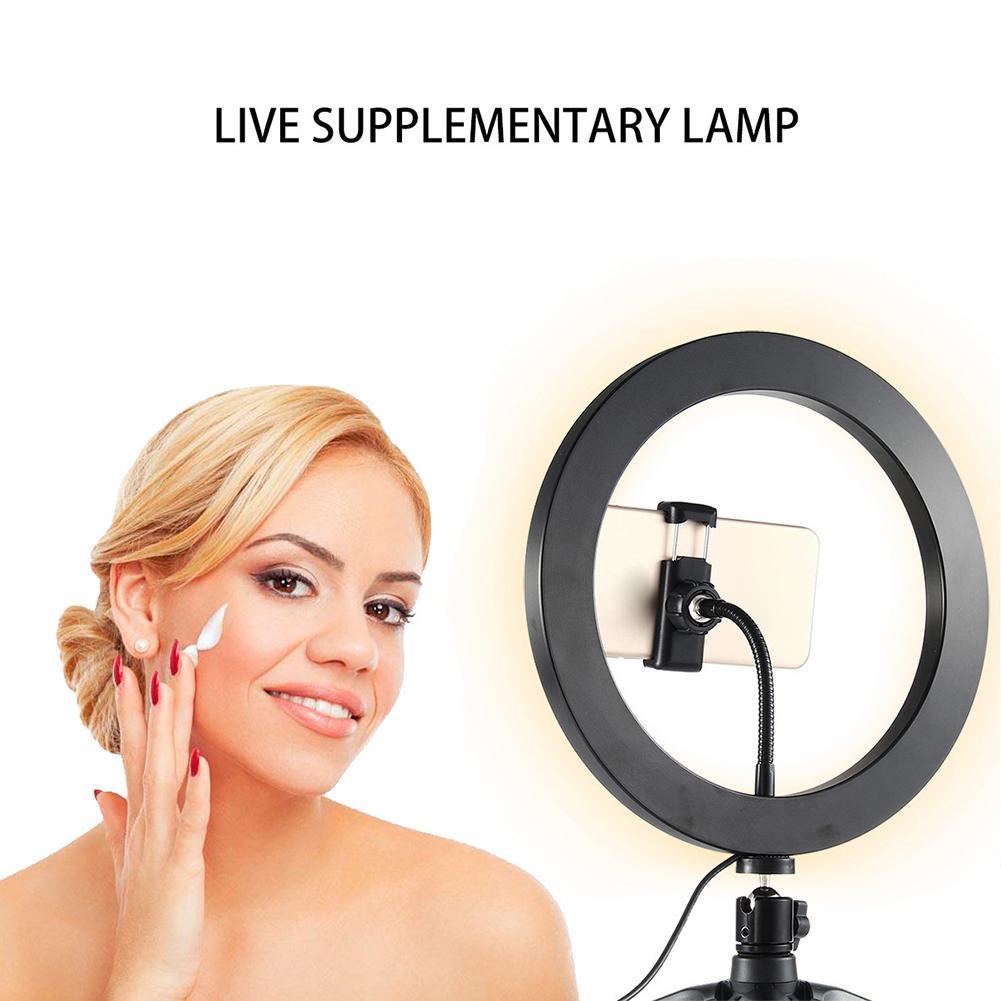 10 inch 26cm ring light LED knob type stepless dimming beauty fill light mobile phone live light for all mobile phones  cameras
