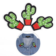 3PCS Cactus Plant Clothes Embroidered Iron on Patches for Clothing DIY Stripes Motif Appliques parches bordados(China)
