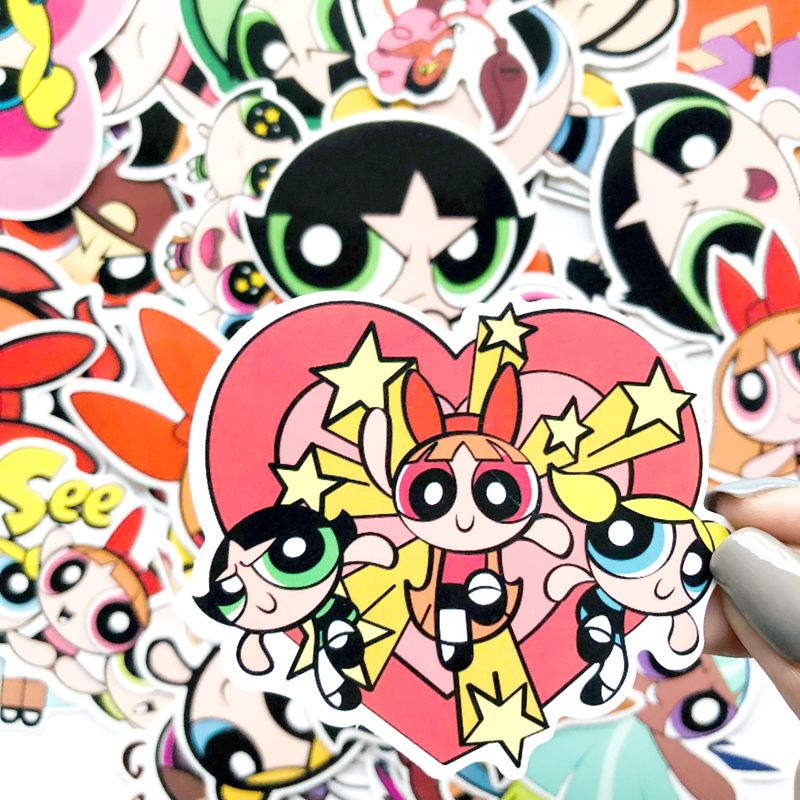 50pcs Powerpuff Girls Funny Stickers DIY Scrapbooking Laptop Skateboard Motorcycle Decoration Badges Decal Sticker