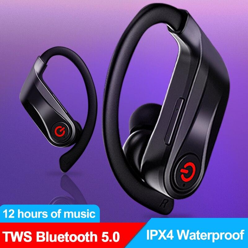 TWS Sport Bluetooth 5.0 Wireless headphones Dual Mic Ear Hook Hifi IPX4 Waterproof Earphone Active Noise Cancellation headset