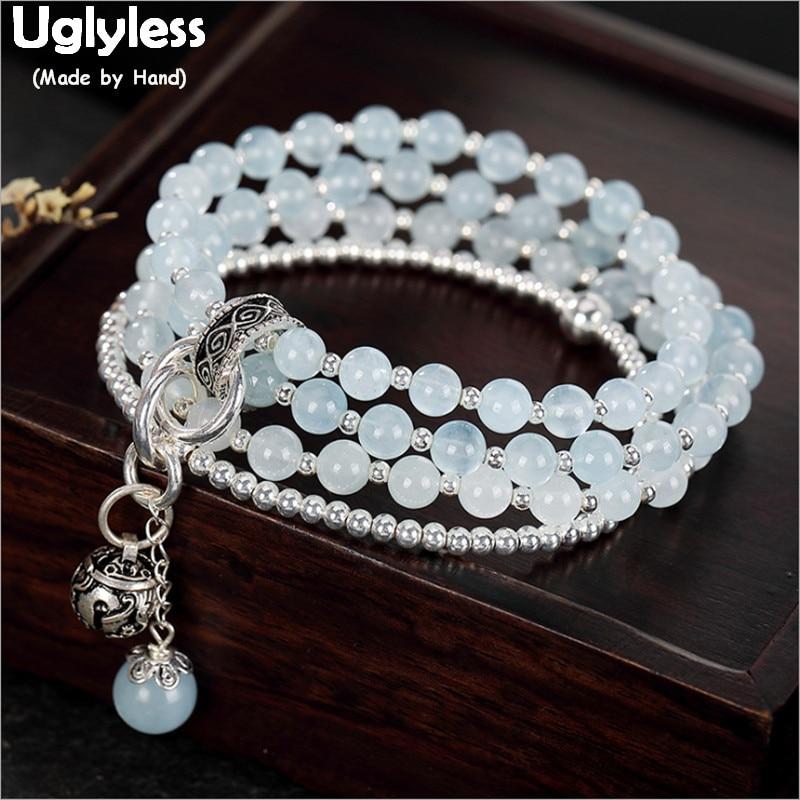 Uglyless Fashion 4 Layers Infinity Elastic Rope Bracelets Women Beading Aquamarine Bracelets Real 925 Silver Beads Jewelry BR246