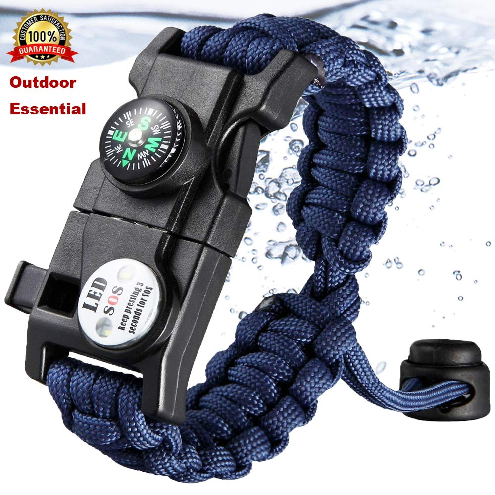 Survival Bracelet Paracord With SOS Lamp Compass Whistle Knife Outdoor for Men Women Camping Tourism SOS Emergency Kit (10)