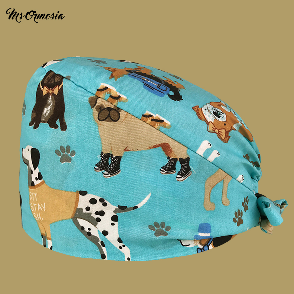 New Product Puppy Printed Medical Cap Scrubbed Hospital Surgical Cap Unisex Pet Hospital Nurse Cap High Quality Cotton Dust Cap